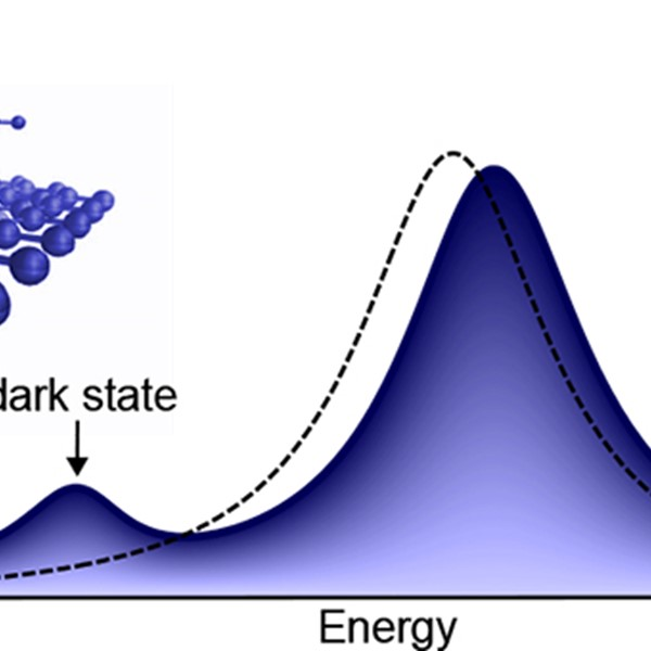 A dark exciton peak is visible in the optical spectrum when a gas molecule is detected.