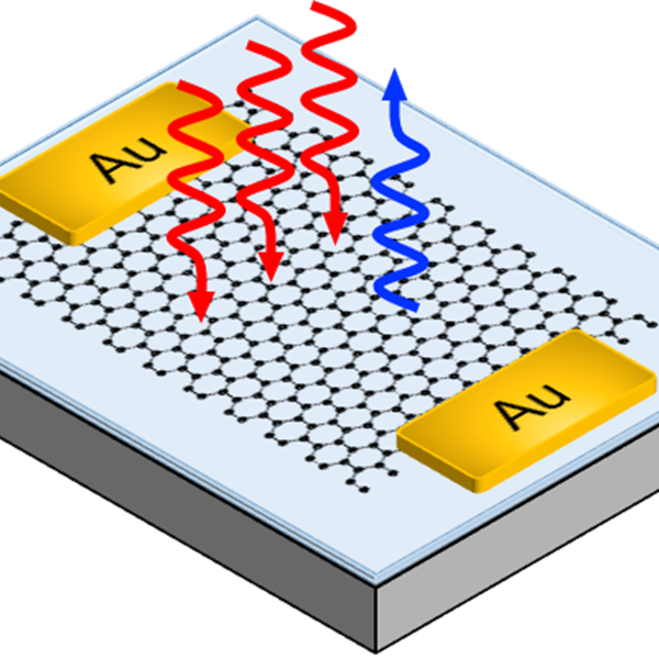 Electrical control of third harmonic generation (THG) can be obtained in single-layer graphene. In THG three low-frequency photons (red) sum up to generate one high-frequency (blue) photon. For this reason, THG can be used for optical frequency converters. Credit: Giancarlo Soavi, University of Cambridge