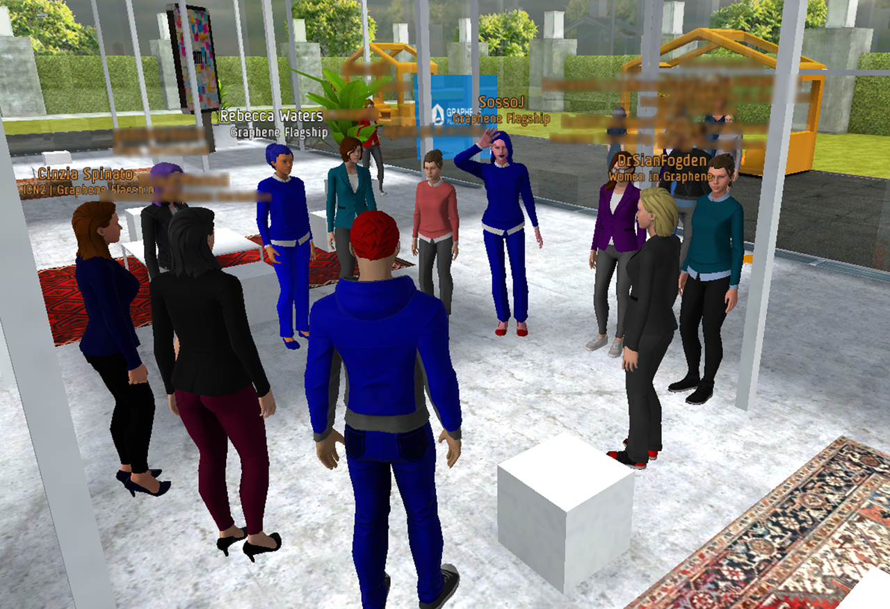 Attendees at a virtual Diversity in Graphene conference mingle during the networking session