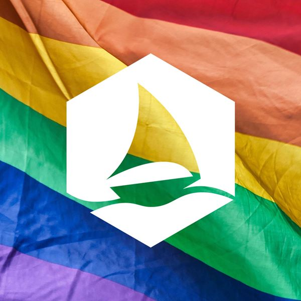Graphene Flagship logo over LGBTQ flag.