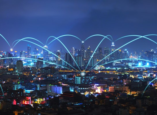 Communication and internet network connect in smart city.