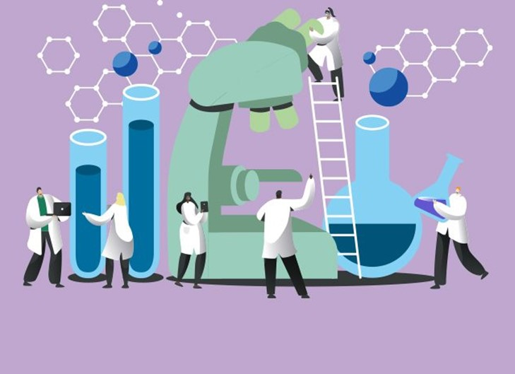 Scientists and lab apparatus vector illustration. Banner image credit: Pharmafield