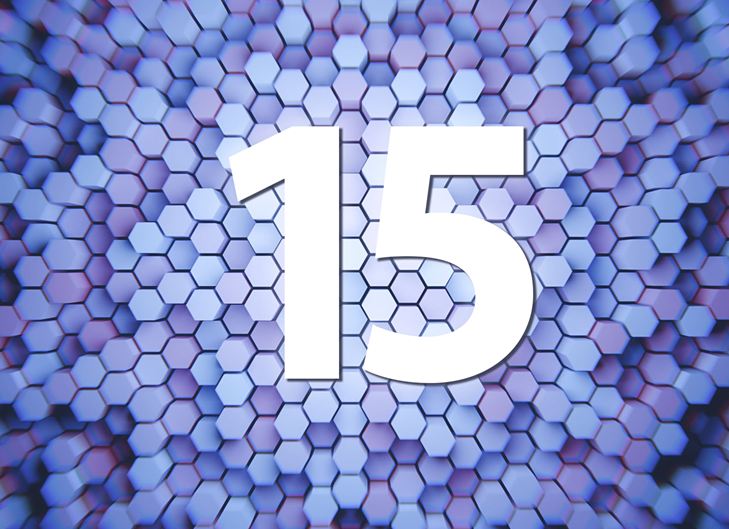 Number 15 with hexagon background