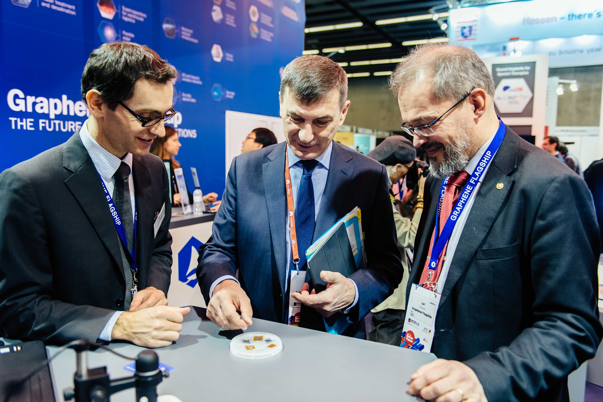 EU Commission Vice President Andrus Ansip visits the Graphene Pavilion at Mobile World Congress 2018