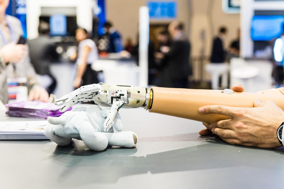 Prototype prosthetic arm at the Graphene Pavilion at Mobile World Congress 2018